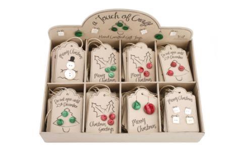 Set of Eight Button Christmas Gift Tag