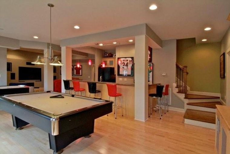 Turn Your Basement Into An Amazing Rec Room Playroom The Pre Finished Natural Wood Floors Provide A Clean Canvas For Your Pool T Rec Room Home House Interior