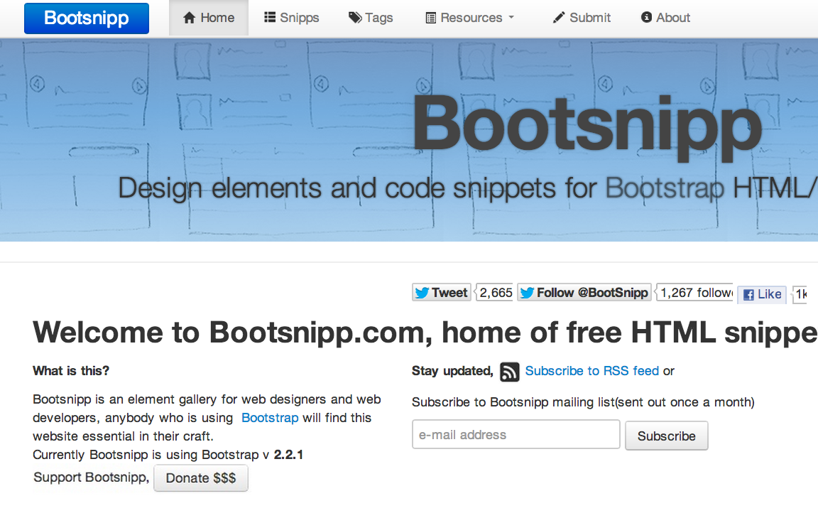 Gallery of free HTML snippets for Twitter Bootstrap  Design elements