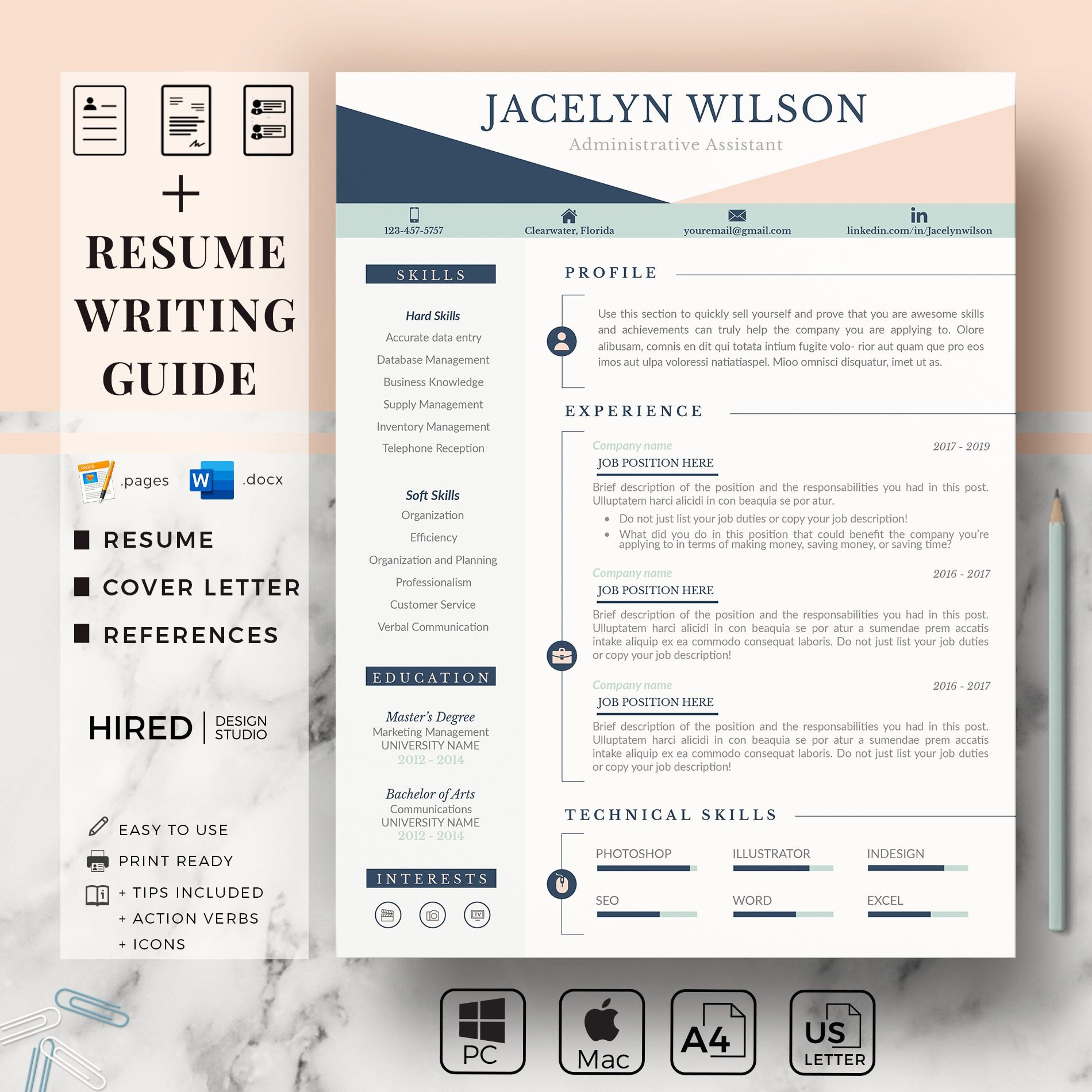 Professional Resume for Administrative. College Resume for