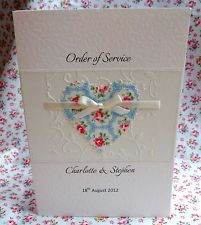 20 Personalised A5 Wedding Order of Service Cath Kidston Fabric Heart