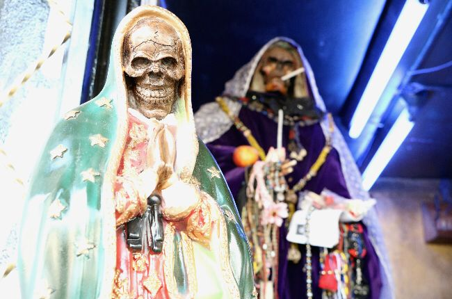 Santa Muerte Statues in a Botanica near Mexico City