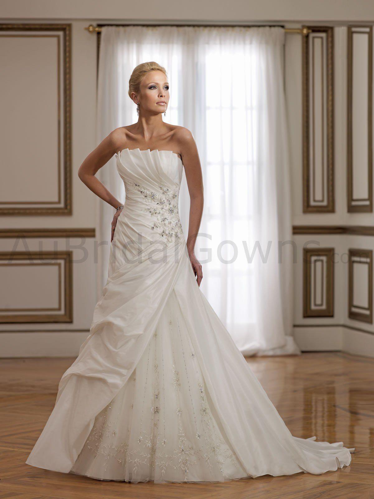 Taffeta fold Neckline Draping Bodice A-line Wedding Dress
