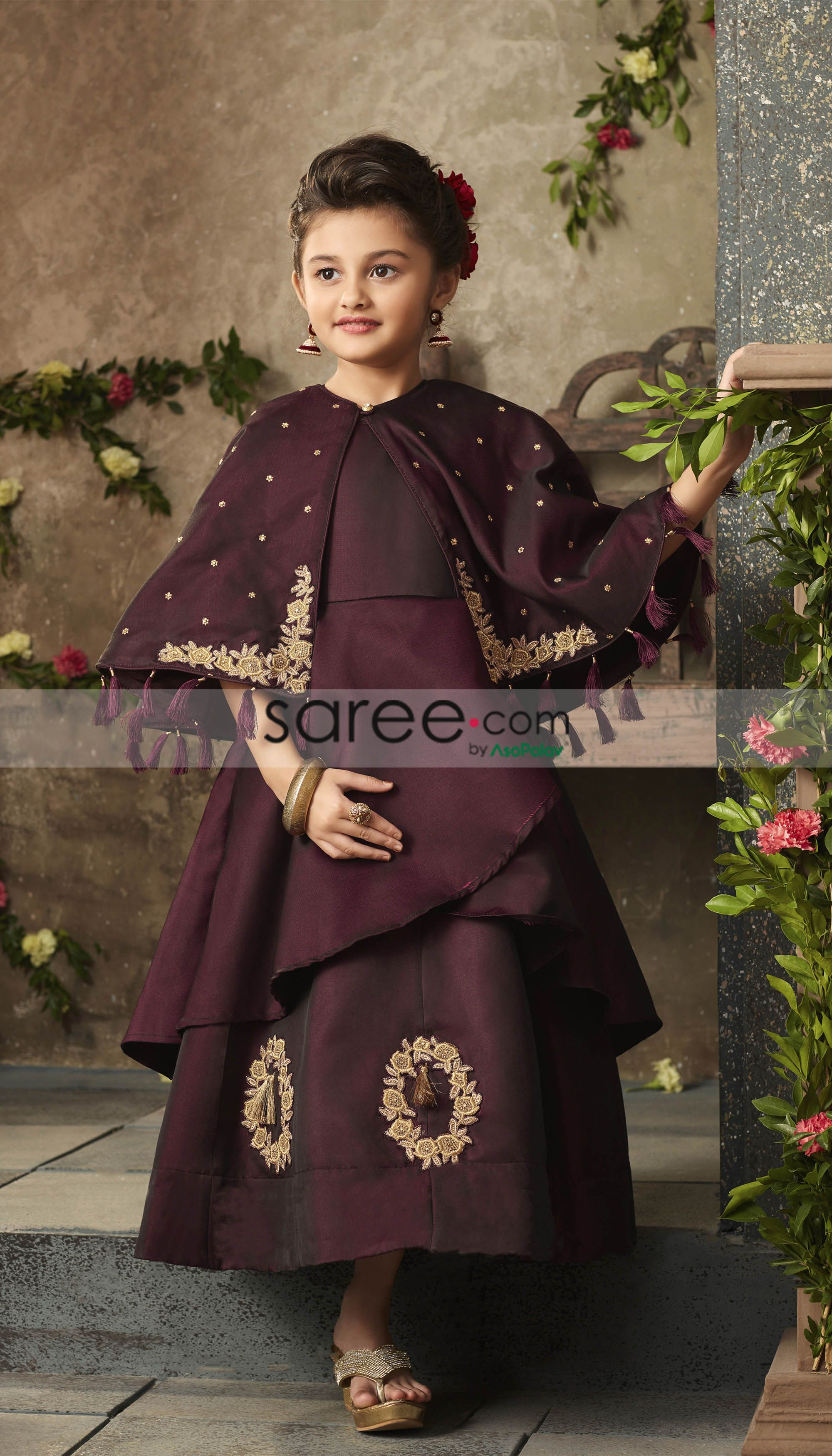 c1a9fe90f2 Wine Violet Empire Line Satin Silk Baby Girl s Gown with Shrug Cape ...