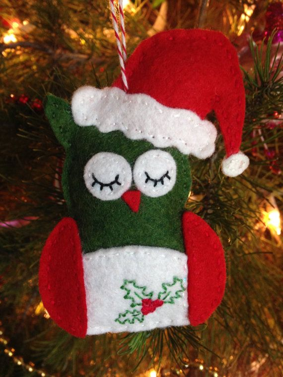 Wool Felt Sleepy Santa Owl Ornament  Made To by TheDelightfulBee, $14.99