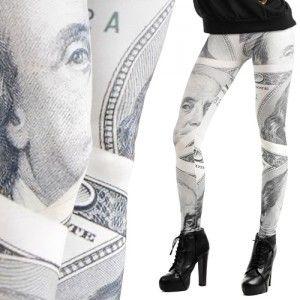 Leginsy Z Nadrukiem Dolary Boots Over Knee Boot Knee High Sock