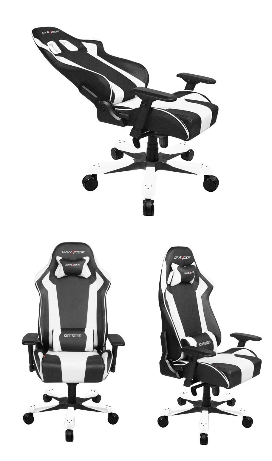 Dxracer Kf06 Series Pc Office Gaming Chair Black White Dxr Kf06 Wh 469 00 Pc Case Gear Gaming Chair Gamer Chair Game Room Chairs