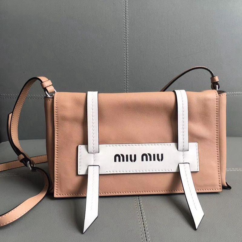 3ee7a6317954 Miu Miu Small Grace Lux Leather Shoulder Bag 5BD075 Beige White 2018 ...