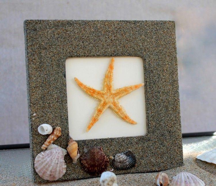 Bastelideen Sommer - Bilderrahmen mit Sand und Muschelschalen ...