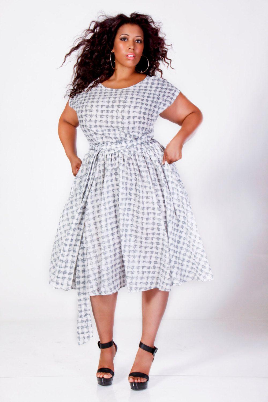 JIBRI Plus Size Swing Dress Gray/White by jibrionline on Etsy, $210 ...