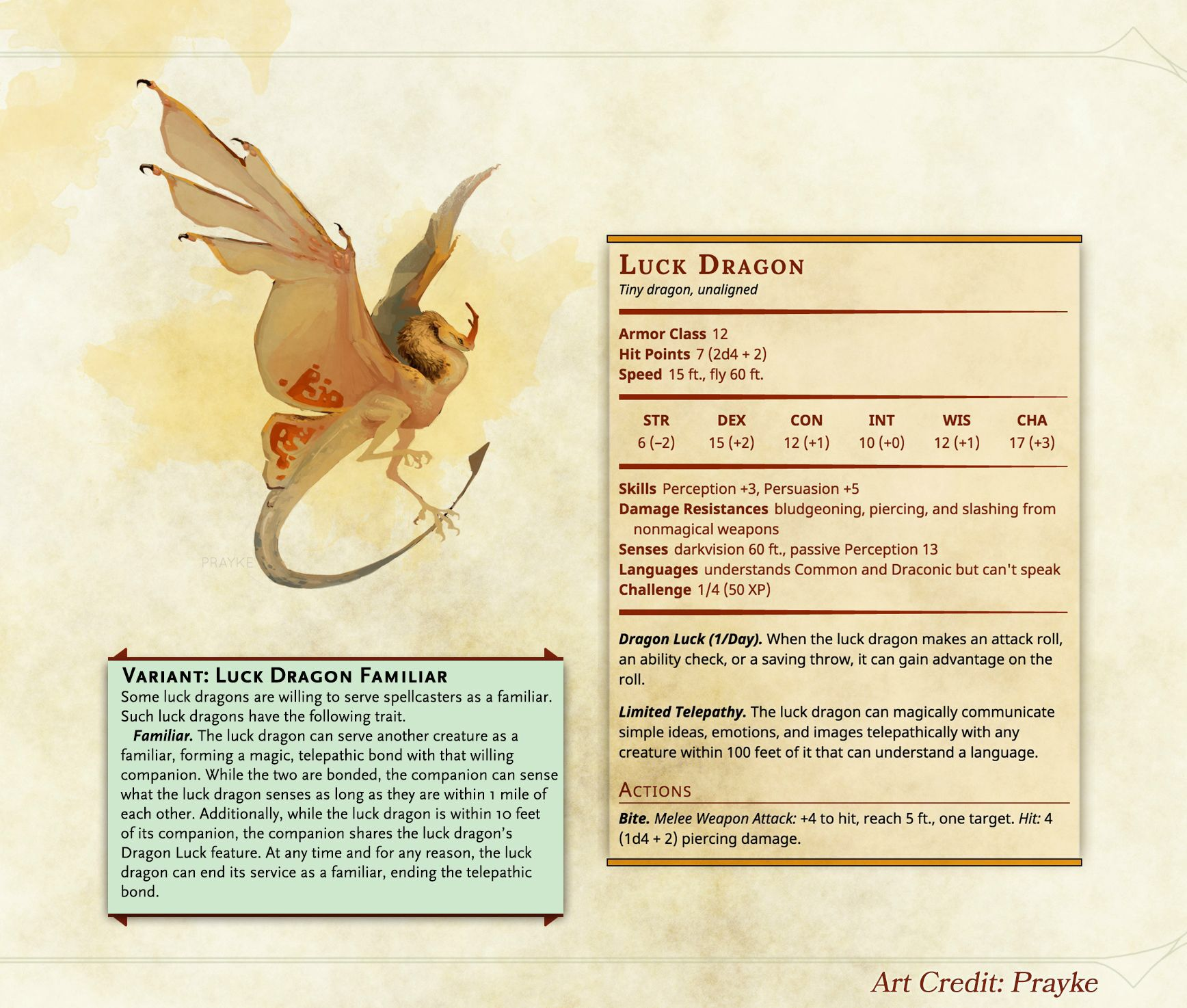 Homebrew] Monster a Day: Luck Dragon | D&D Creatures in 2019 | Dnd