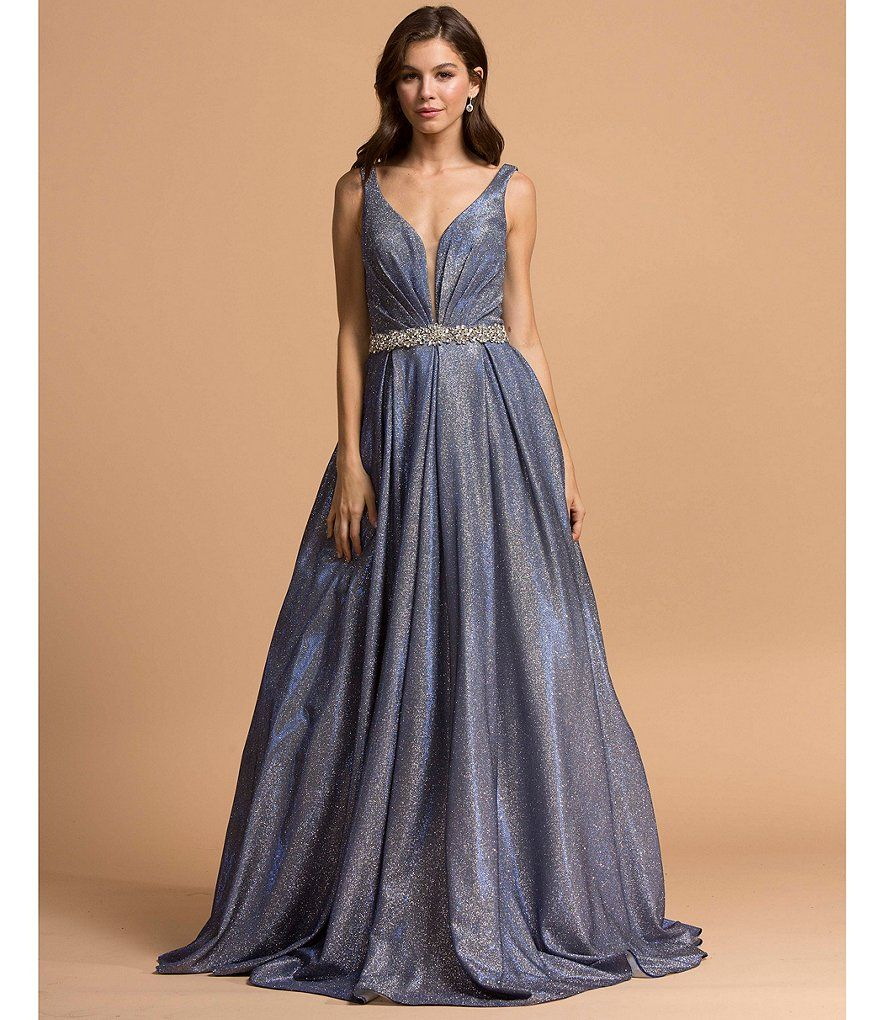 29e29e28f55 Coya Collection Plunging Neckline Glitter Metallic Ballgown. Find this Pin  and more on Prom Queen by Dillard s.