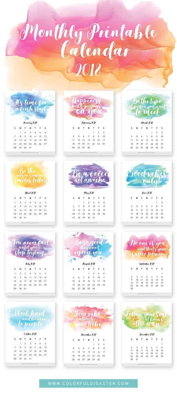 2018 free printable calendars Printable calendars, Printable - printable calendars