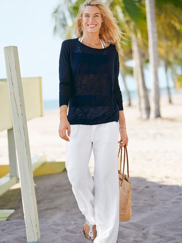 47 summer white linen pants outfit for women linen pants