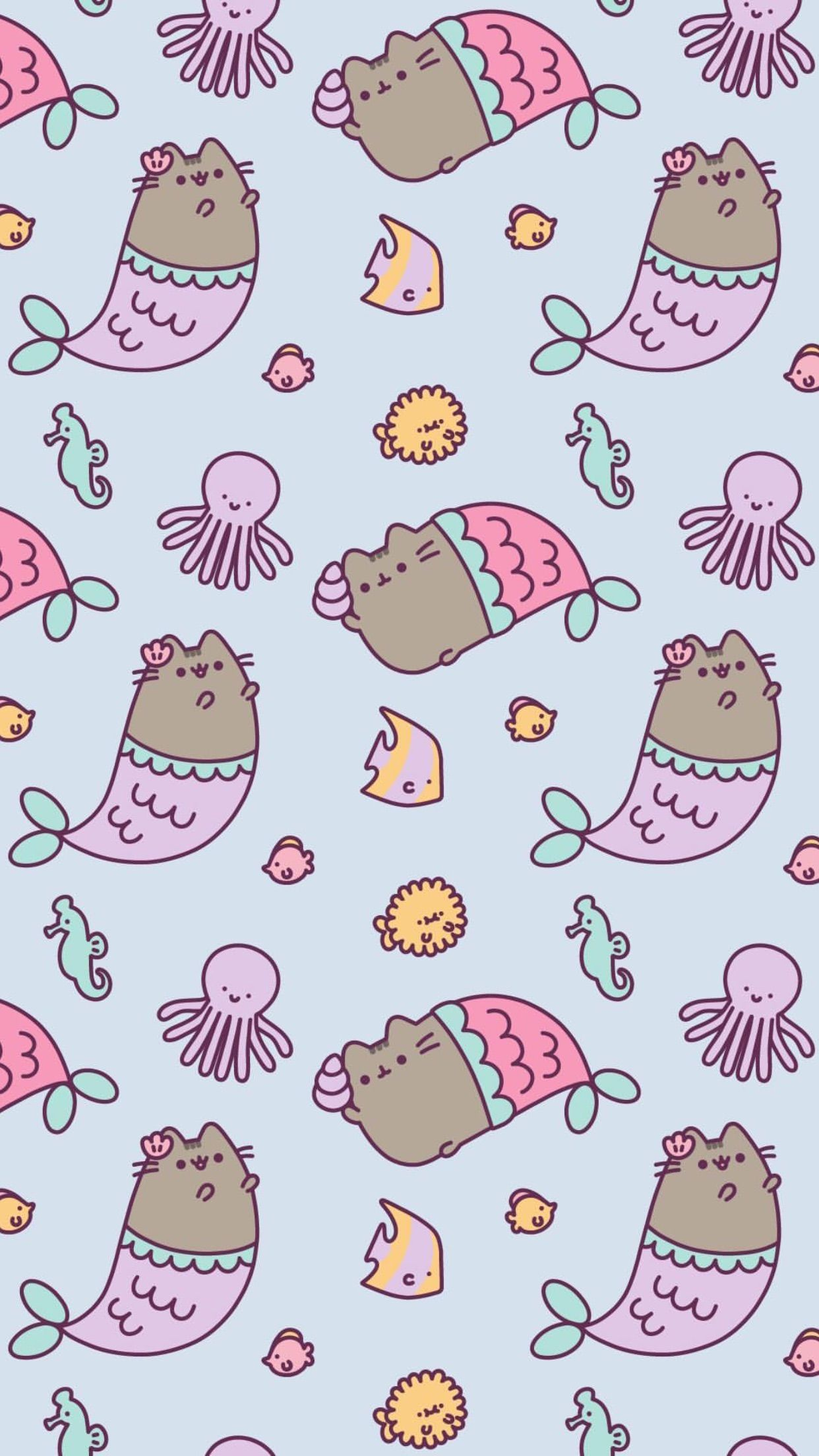 pusheen wallpaper !! #mermaid