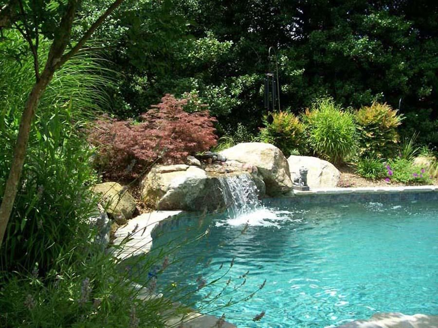 Swimming pools with waterfalls custom natural swimming for Pool design maryland