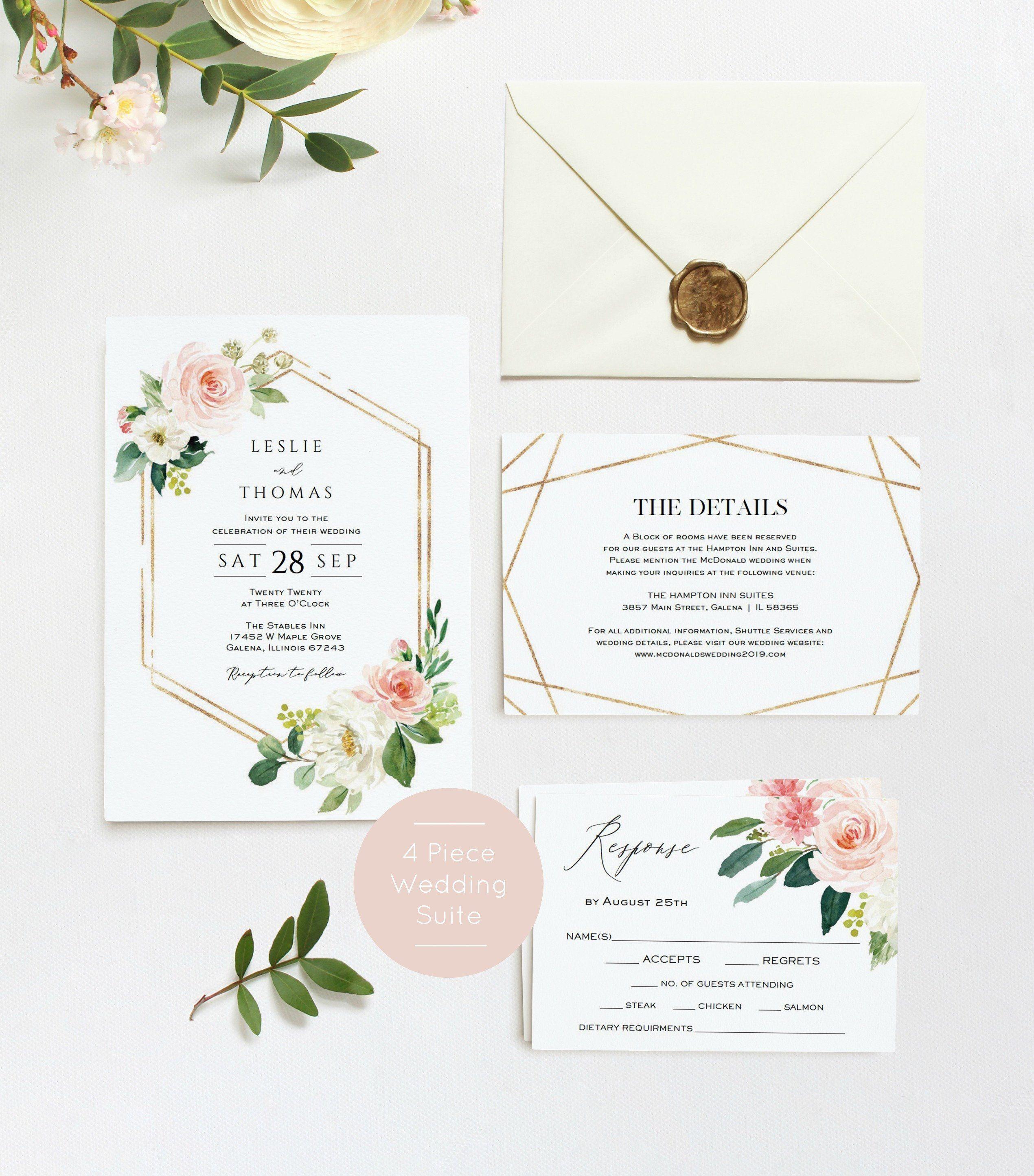 Roses Blush Pink and Grey Wedding Invitation Willow Editable Wedding Invitation Printable Watercolour Wedding Invitation template