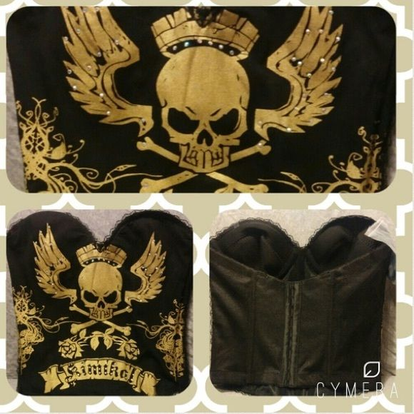 Punk Skull Corset Very comfortable cotton like material. Very nice design, soft, stylish! Cups will probably fit 34-36C Tops