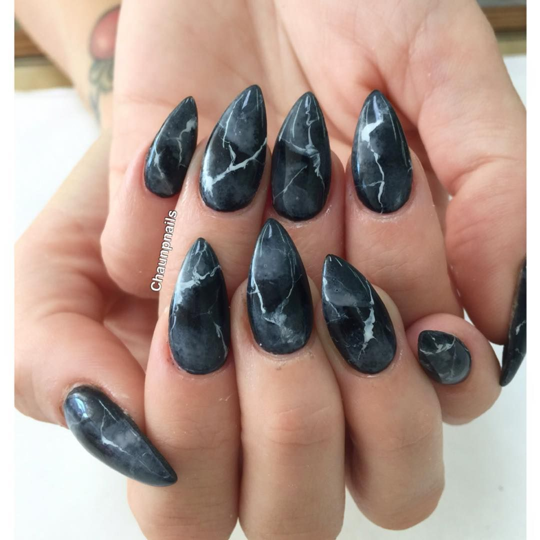 "Marble Nail Art Stiletto: ""Granite Marble For @romirain #marblenails #chaunpnails"