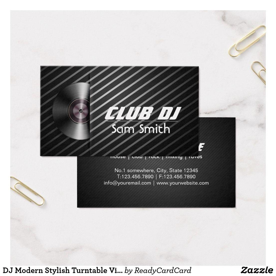 DJ Modern Stylish Turntable Vinyl Recoder Mixer Business Card | DJ ...