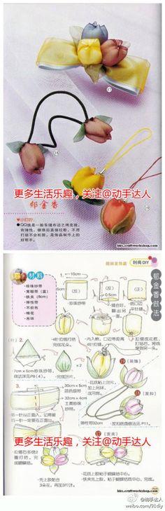 简单优雅的郁金香,可以做成手机链或是发绳~~
