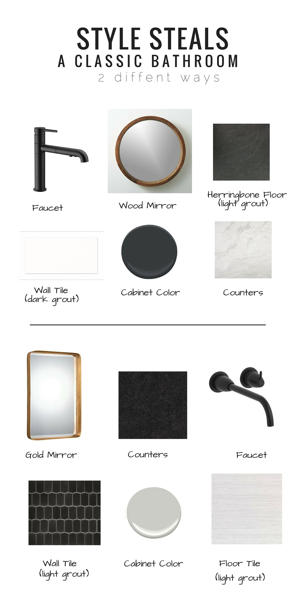 Black and white bathroom ideas pinterest - Style Steals Classic Black And White Bathroom Studio Thomas