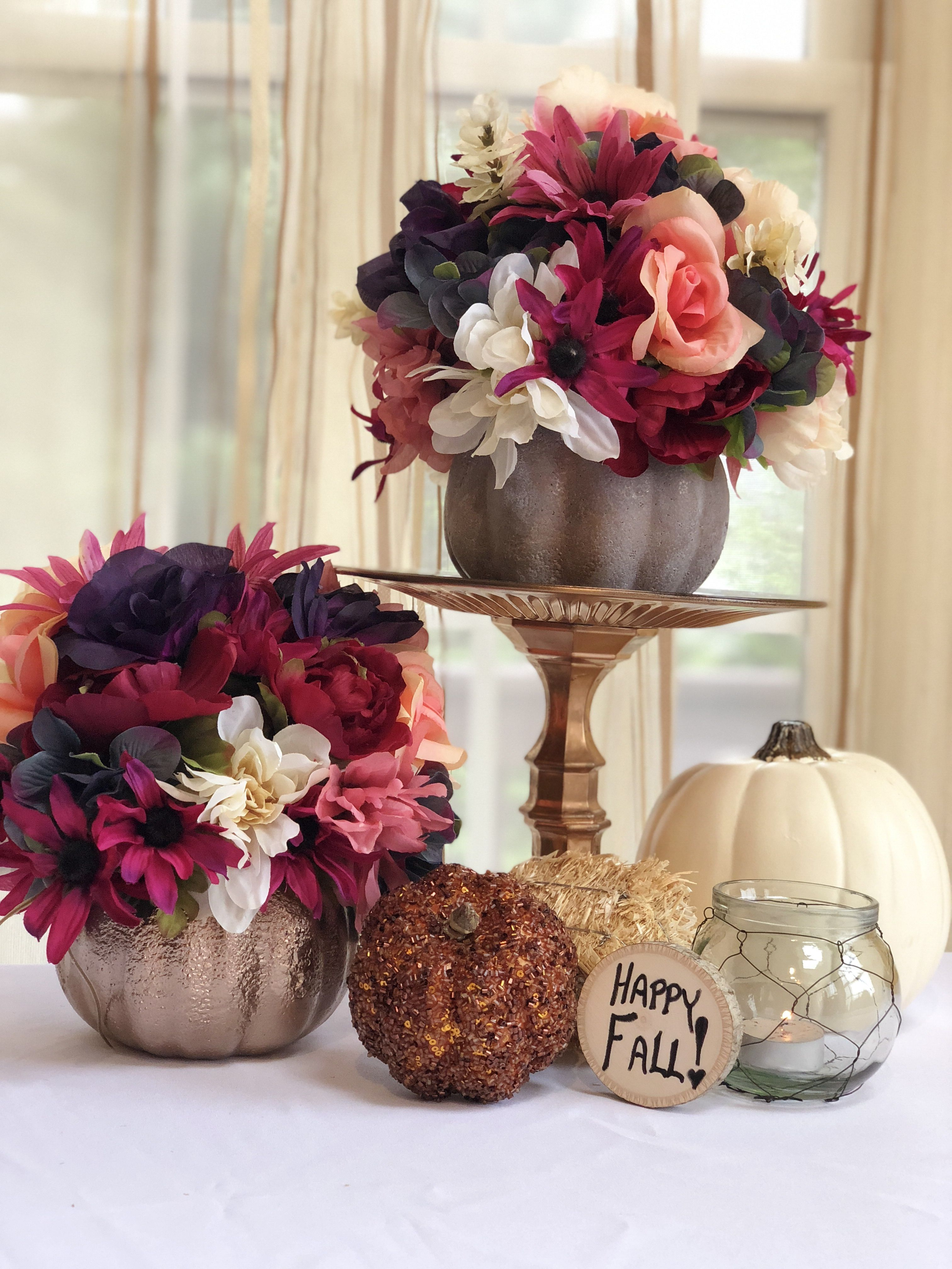 Dollar Tree DIY Centerpiece Ideas with Fall Flowers and