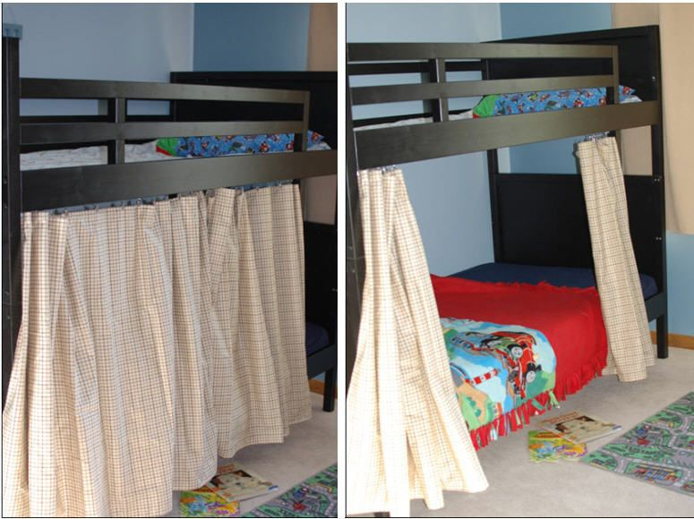 I Bought A Curtain Rod With Clips At Ikea And Hung It Inside My Son S Bunk Bed To Make An Instant Tent He Loves It And Bedroom Deco Girl Room