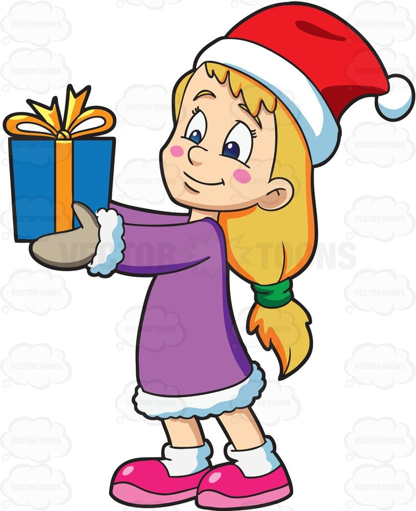 Christmas Giving Clipart.A Girl Giving Her Christmas Gift Cartoon Clipart Vector