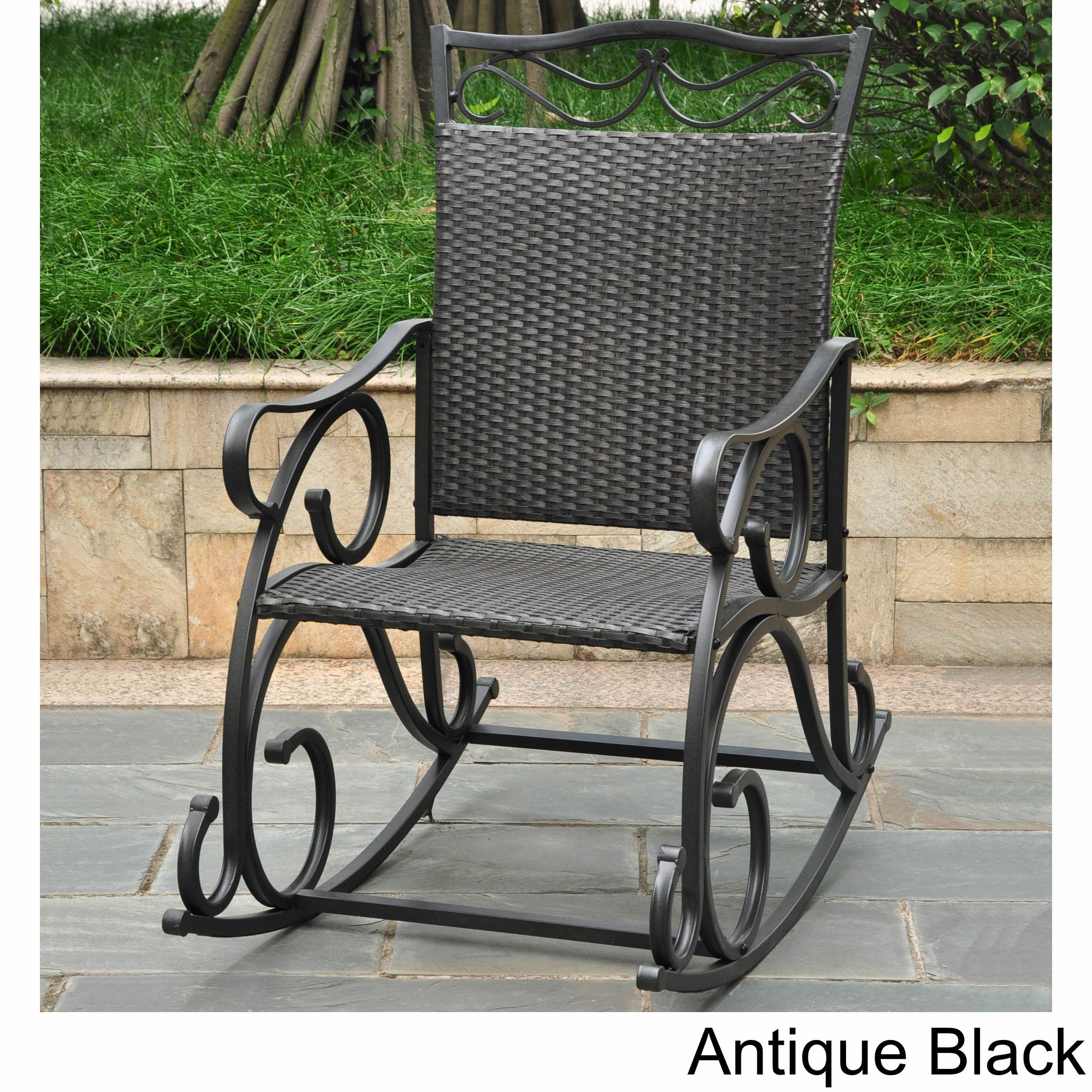 International caravan valencia resin wicker steel frame rocking chair antique black patio furniture