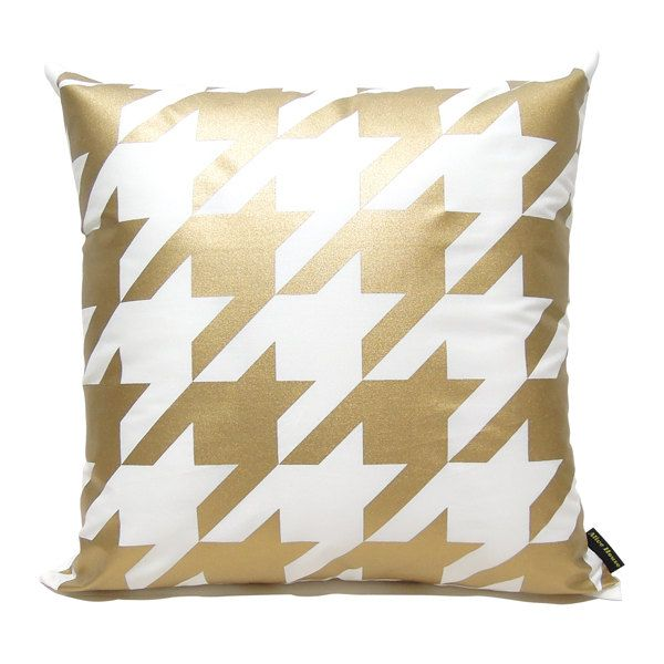 """Absolutely lovely... Houndstooth Pillow Cover-Gold printed in white cotton-16"""" via Etsy."""