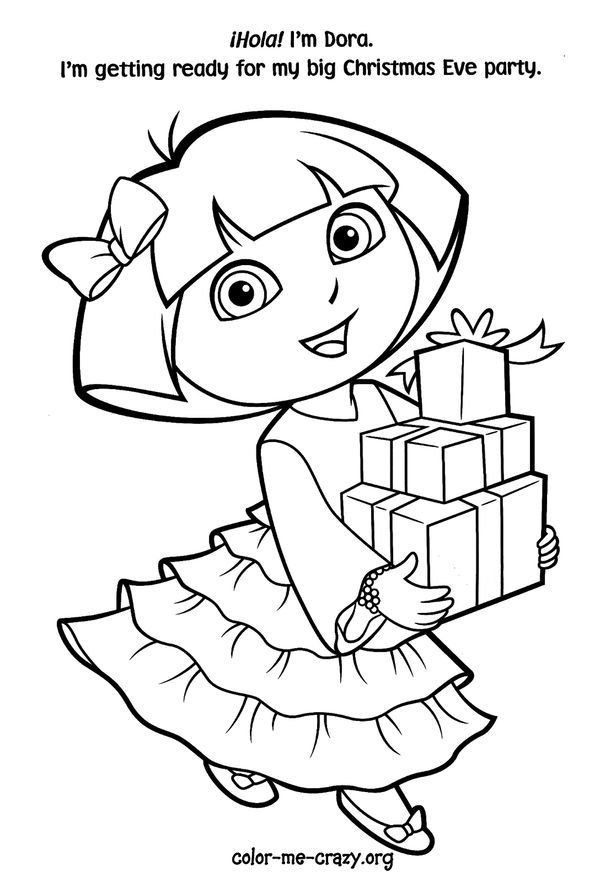 In This Beautiful Picture Dora Is Ready For Her Christmas Eve Party Have Fun With Free Coloring Page