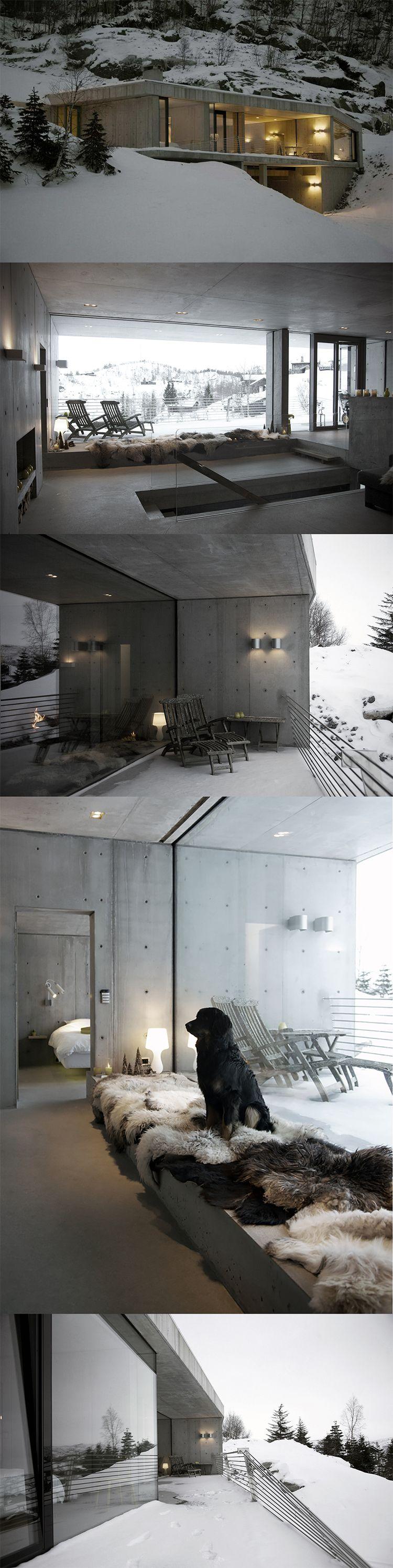 Winter cottage, Sirdalen Valley, Norway http://thecoolhunter.net/winter-cottage-sirdalen-valley-norway/