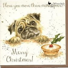 Wrendale Designs Christmas Card NEW Border dog I love you more than mince pies