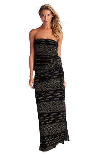 b0d4aa9e14 Vitamin A Women's Beachwear Maxi Dress Swim Cover Up Black Diamond Crochet  M - Click image