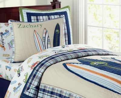 New Pottery Barn Kids Surfboards North Shore Blue Twin ...