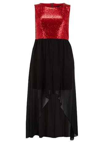 Lovedrobe Pailletten-Kleid, Rot und Schwarz   Plus Size Apple shape ...