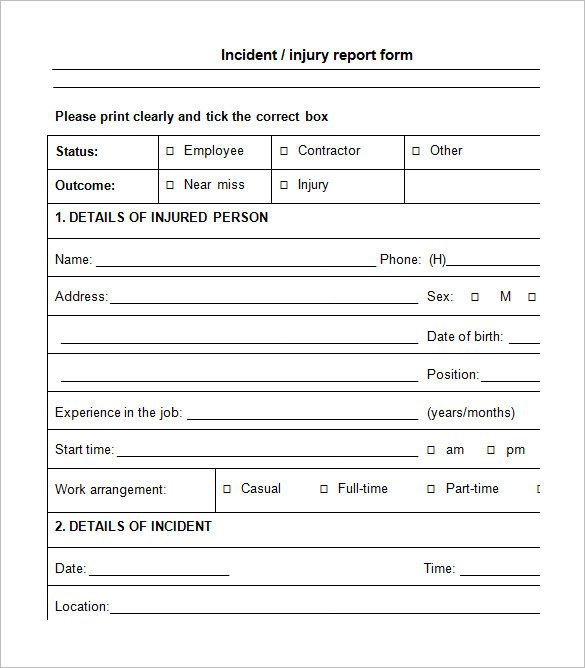 Incident Report Form  Incident Report Template    Sample