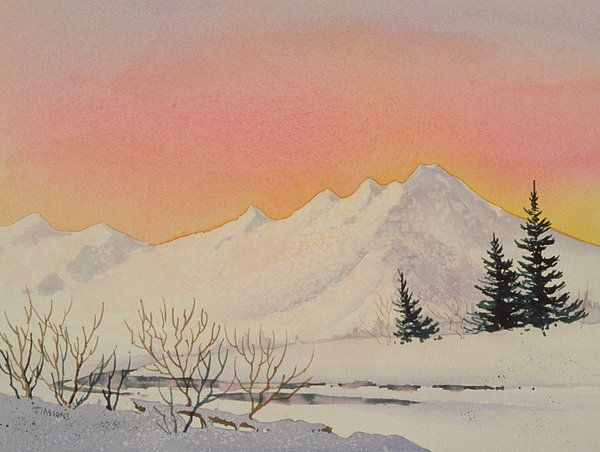Sunset Over Snowy Mountains Watercolor Sunset Watercolor Sky