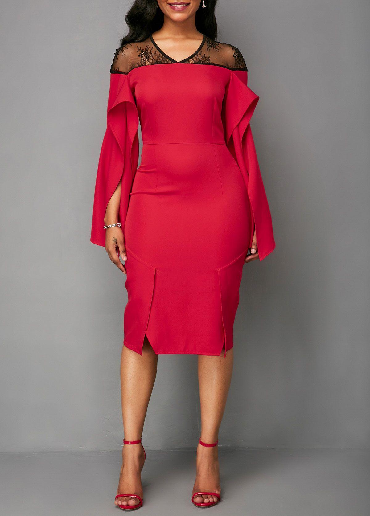 9b09b5e5551 V Neck Long Sleeve Red Dress