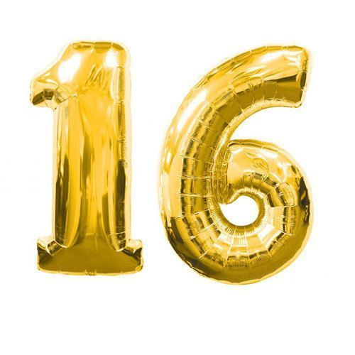 Large Gold Number 16 Sweet Sixteen Balloon 32inch - Colorful and great quality. 1st Birthday, Graduation, Party, Wedding, Shower, Baby