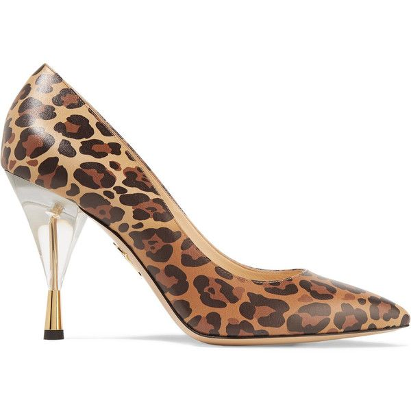 Charlotte Olympia - Juliette Leopard-print Leather Pumps ($349) ❤ liked on  Polyvore