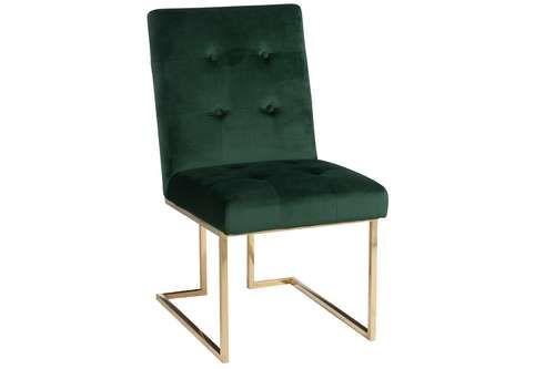 DRUGSTORE MODERN Chaise velours vert tendance et métal doré