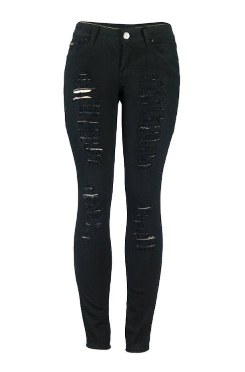 66dca70a393e 2LUV Women's Distressed Skinny Jeans Black 5 (G778A) | clothes and ...