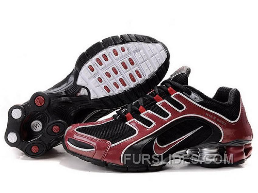 Discount Authentic Mens Nike Shox R5 Shoes Black/Dark Red