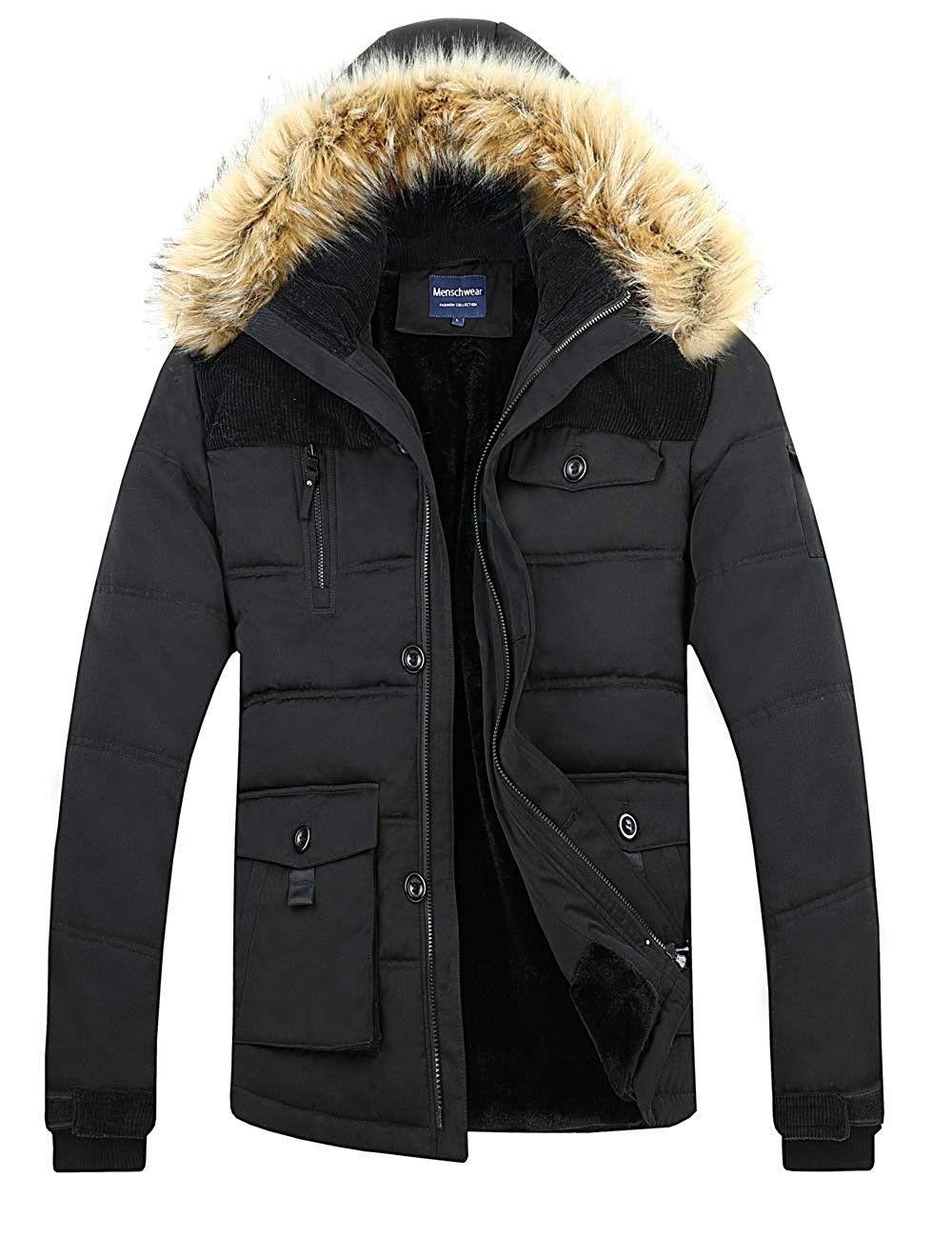Men's Down Jacket Fleece Lined Winter Line Parka Black