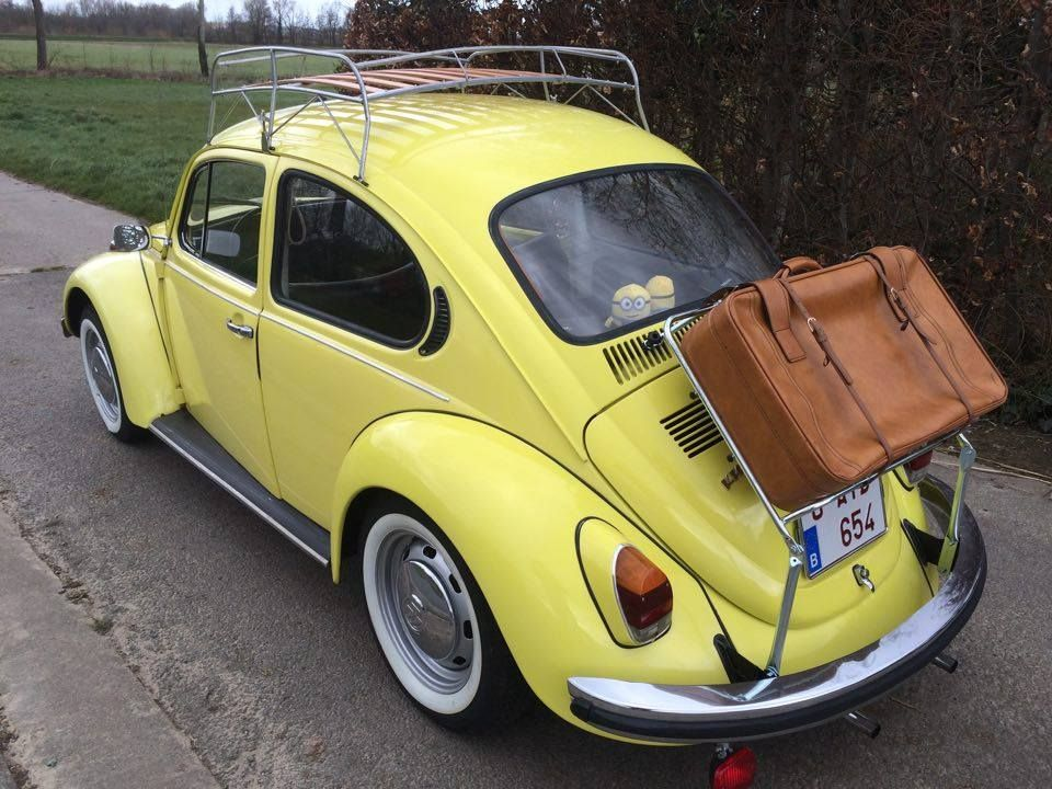 Yellow Vw Beetle Yellow Vw Bug 1972 With Roof Rack And Decklid Rack Roof Repair Roof Architecture Pergola Carport