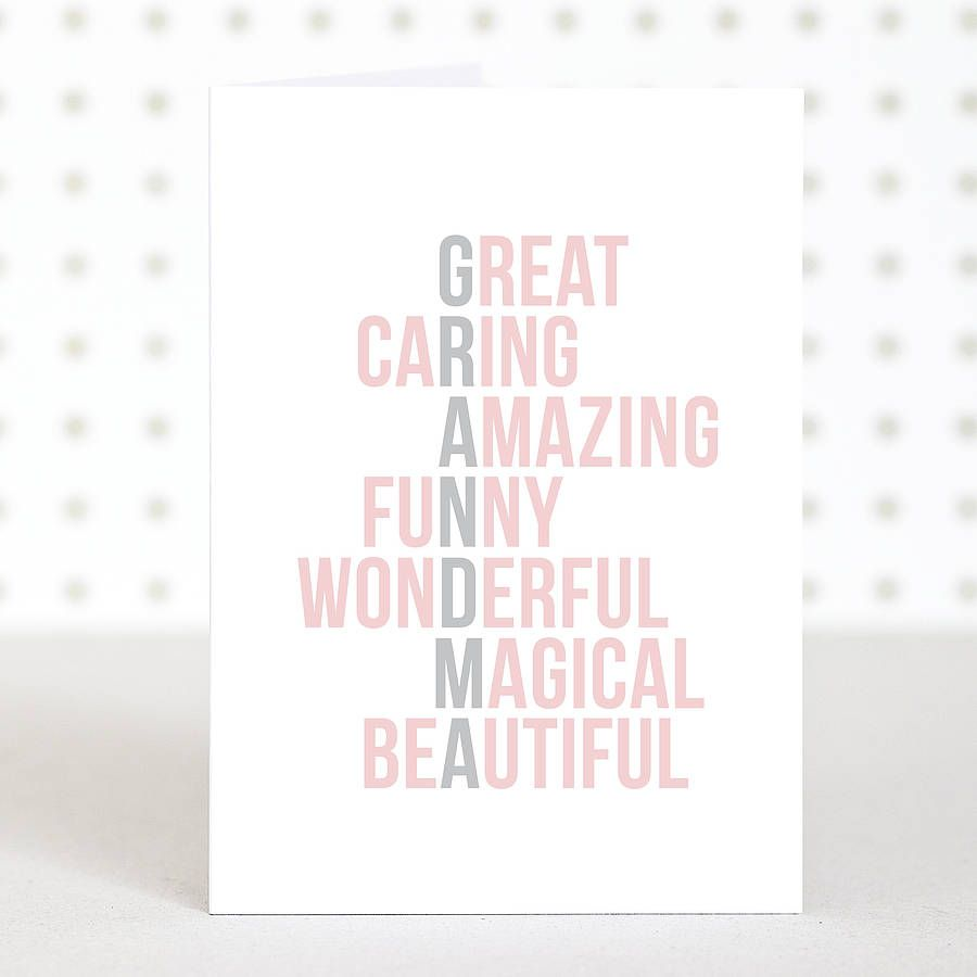Acrostic grandma mothers day card birthday gifts for