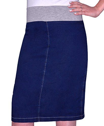Kosher Casual Women's Modest Straight Knee Length Denim Skirt Plus 18 Stonewash Blue  Special Offer: $34.00  311 Reviews Kosher Casual women's straight knee length denim skirt. It has a soft, stretch waistband allows sizing flexibility and comfort. No zips, buttons or...
