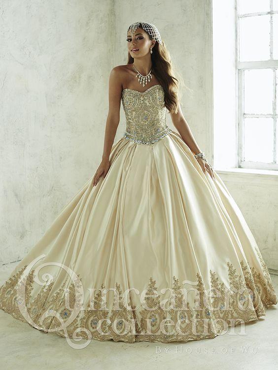 Vestidos Para Quinceañeras Color Dorado 2018 Ampones Rosa